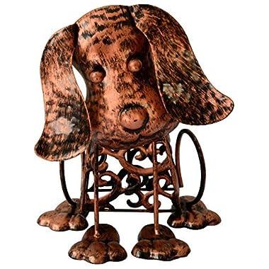 Solar Light Outdoor/Garden Decorative Bronze Metal Silhouette Animal- BroGarden Cute Dog Figurine Decor
