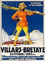 ERZANノスタルジックなデザインが人気のブリキ看板ヴィラール-ブルターイ鉄道スキースイスビンテージ旅行広告壁の装飾牌20x30cm