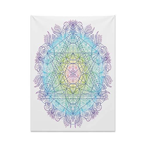 ABAKUHAUS Étnico Tapiz de Pared y Cubrecama Suave, Cubo De Metatron En Un Mandala, Lavable Colores Firmes, 110 x 150 cm, Multicolor