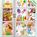WEWBABY Easter Decorations Window Clings 10 Sheet Easter Bunny Decorative Window Stickers Easter Eggs Chick Carrot Window Decor Window Decals for Glass Windows Door for Easter Day Party Home School Office Holiday Supplies