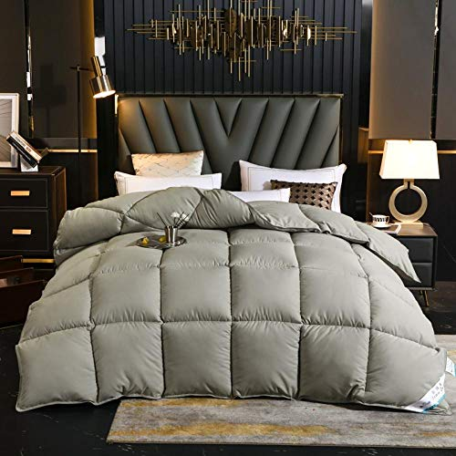 CHOU DAN ,Duvet 95 white goose down single double quilt core student dormitory quilt winter quilt clearance winter-220x240cm 4000g_Star Gray
