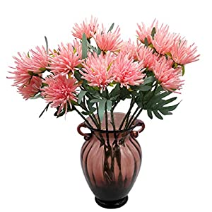 cn-Knight Artificial Flowers 10pcs 19 Inch Silk Mums Faux Chrysanthemum Gel-Coated Chrysanths for Wedding Bridal Bouquet Home Decor Housewarming Gift Centerpieces Baby Shower Reception(Pink)