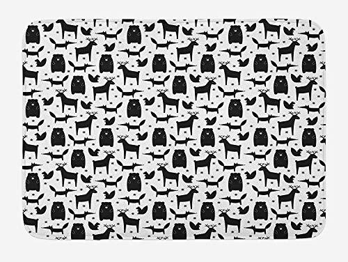LiminiAOS Rabbit badmat, aquarel konijnen hand getekend op witte achtergrond Konijnen pastel kleur set, bad mat pluche met antislip ondersteuning, veelkleurig