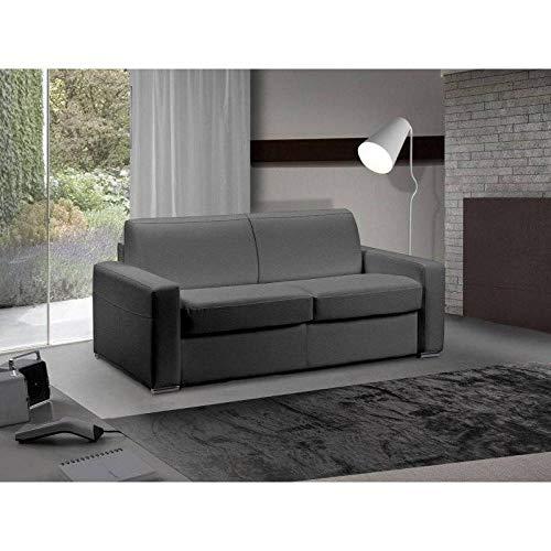 Canapé lit 3 Places Master Convertible Ouverture RAPIDO 140 cm Cuir Eco Gris Graphite Matelas 18 CM Inclus