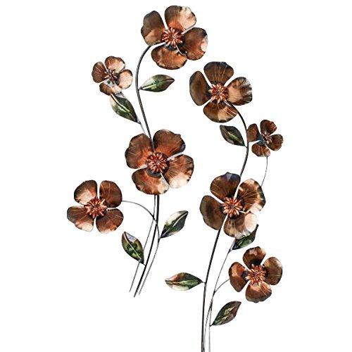 formano 2er Set Wanddeko, Wandbild Blumen H. 76cm braun Kupfer Metall