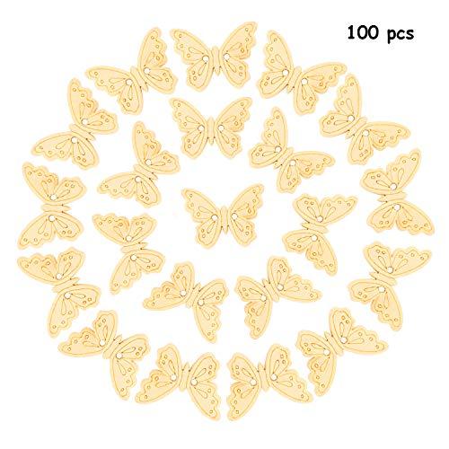 OOTSR 100 unids Botones de mariposa de madera, 2 agujeros Color de madera Mini Forma de mariposa Botones de madera hechos a mano para costura/elaboración/scrapbooking