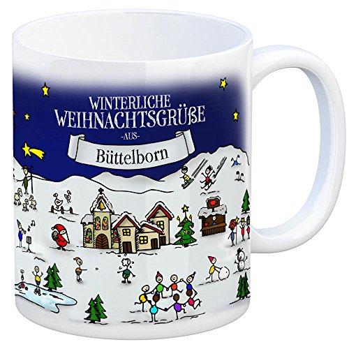 trendaffe - Büttelborn Weihnachten Kaffeebecher mit winterlichen Weihnachtsgrüßen - Tasse, Weihnachtsmarkt, Weihnachten, Rentier, Geschenkidee, Geschenk