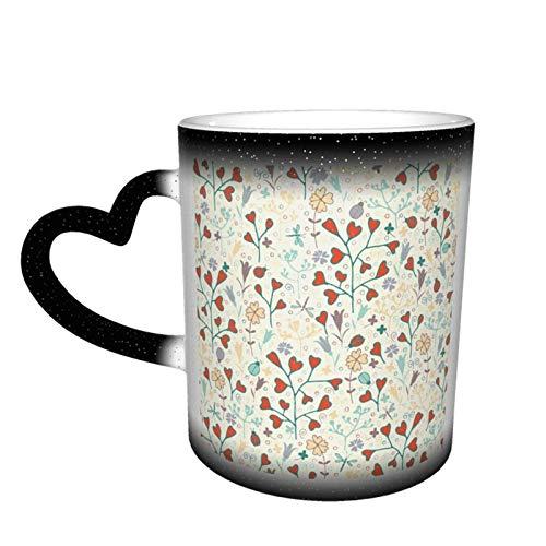 Taza de café con diseño de mariquitas y flores de primavera, diseño de taza de cerámica sensible al calor, taza que cambia de color en el cielo, 11 oz
