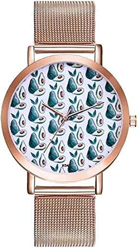 JZDH Mano Reloj Reloj de Pulsera Aguacate patrón de aleación Correa de Acero analógico de Cuarzo Redondo Reloj Mujer Moda Mujer Relojes Femmes Relojes Decorativos Casuales (Color : Gold)
