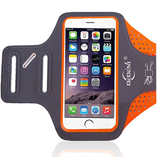 DEDENI Water Resistant Sports Armband 5.5 Inch for iPhone 7 Plus, 6s Plus, 6 Plus, Running Exercise Multifunction Phone Case for Android Phones (Orange)