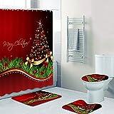 Lucoss 4 STK. Weihnachtsdusche Badaccessoires Set, Weihnachts Dekoration Wasserfeste Duschvorhänge mit Haken, Rutschfester Badteppich, Toilettendeckelabdeckung, Toilettenteppich, für Badezimmer