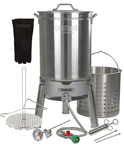 Enterprises Turkey Deep Fryer Oversized 44 Quart Stainless Steel Big Bird Kit by Bayou Classic for Big 25 lbs Huge Turkeys Complete KIT