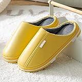 Zapatillas de casa Antideslizantes Impermeables para Hombres y Mujeres Zapatillas de casa cálidas para el Piso Interior Zapatos para Parejas-Yellow_38-39