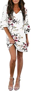 BELONGSCI Women's Dress Sweet & Cute V-Neck Bell Sleeve Shift Dress Mini Dress