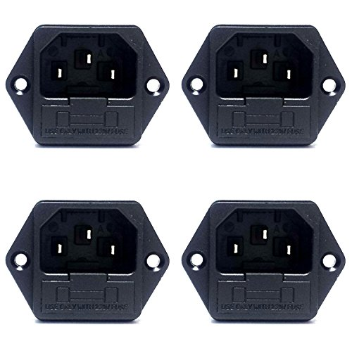 CESS Screw Mount AC Power Inlet with Fuse Holder,Socket Type, Black - 4 PACK