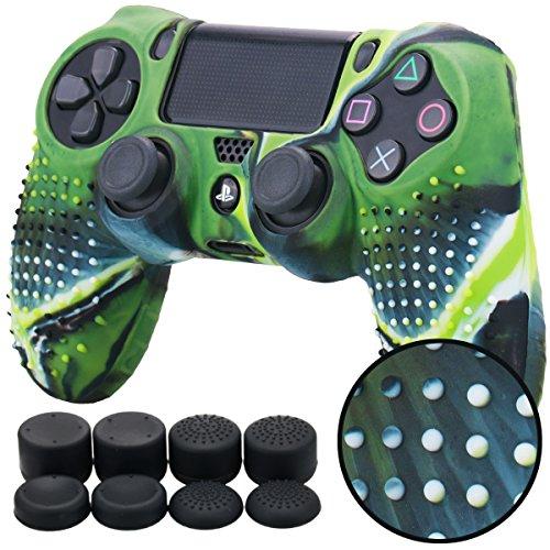 Pandaren BORCHIE silicone custodie cover pelle antiscivolo per PS4 controller x 1 (camuffamento verde) + FPS PRO thumb grips pollice prese x 8