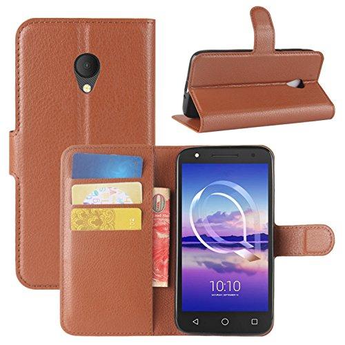 HualuBro Alcatel U5 HD Hülle, Leder Brieftasche Etui Tasche Schutzhülle HandyHülle [Standfunktion] Leather Wallet Flip Hülle Cover für Alcatel U5 HD (Braun)