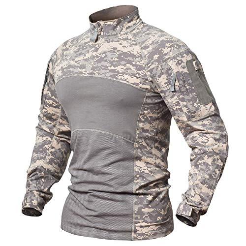 ReFire Gear Camisa de combate táctico de algodón de manga larga camuflaje Airsoft militar camiseta con bolsillo
