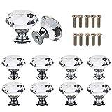 YUIP Pomos y Tiradores de Muebles 10 Piezas Tiradores de Cristal 30mm Pomos Puertas para Armarios Cajones Cocina Gabinetes Diamante