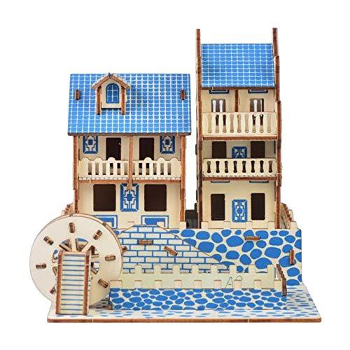 Generic Ristiege DIY Holzpuzzle, 3D-Kamera Windmühle DIY Montage Craft Kits Lernspielzeug,Phoenix Antike Stadt,XF-G032H