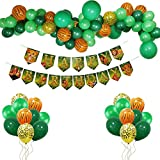 Lion King Happy Birthday Banner Party Balloons Decorations Kit, Safari Birthday Banner Balloons for Kids Birthday 1st 2nd 3rd Baby Shower Party Supplies