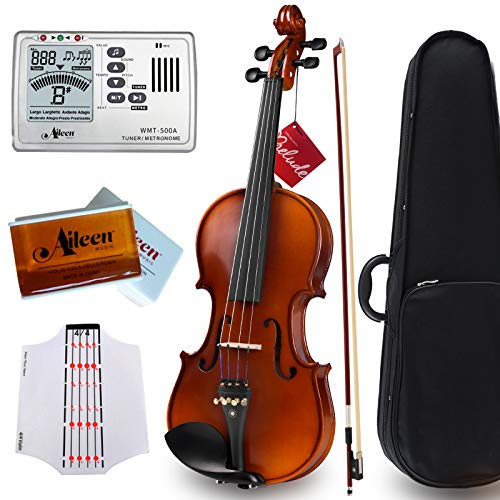 """Aileen """"Premium Beginner' Series Violin Outfit 4/4 Full Size Solid Wood Ebony Fitted for Kids Students, Teachers Approved"""