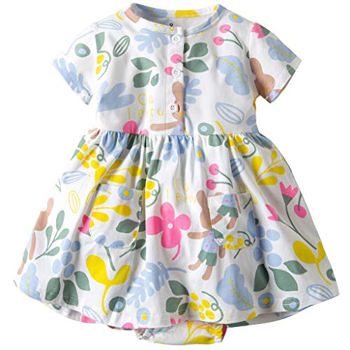 Vestido Niña Ropa Bebé Vestidos Manga Corta Princesa Verano Flor Impreso Traje Flor 3-6 Meses