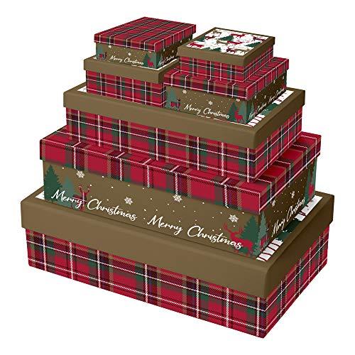 Clairefontaine X-28068-BXC - Set mit 7 Boxen rechteckig (2 Boxen: 21,5 x 14x5cm, 2 Boxen: 23,5 x 16 x 6cm, 1 Box: 35 x 26 x 7cm, 1 Box: 37 x 28 x 9cm, 1 Box: 39 x 30 x 11cm), 1 Set, Tartan