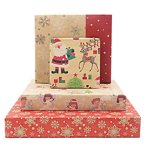 Papel de regalo de 20 hojas, papel de regalo de Santa, papel de regalo de Navidad Kraft - Santa, ángel, calcetín de...