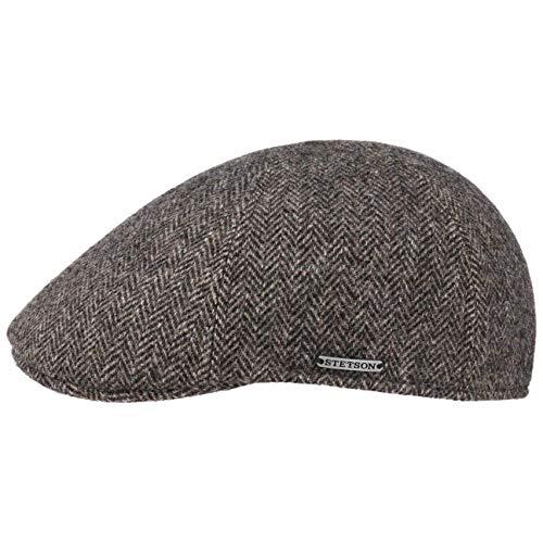 Stetson Coppola Texas Wool Herringbone Uomo - Made in The EU Cappello Invernale Berretto Piatto Cappellino Lana con Visiera, Fodera Autunno/Inverno - L (58-59 cm) Grigio