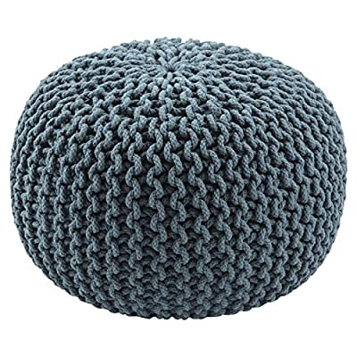 Jaipur Solid Pattern Orion Blue Cotton Pouf, 20-Inch x 20-Inch x 14-Inch