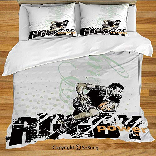 Sports Bedding Duvet Cover Set,Sketchy Rugby Player with a Ball Running Power Muscular Strength Challenge Decorative Decorative 3 Piece Bedding Set with 2 Pillow Shams,Black White Orange