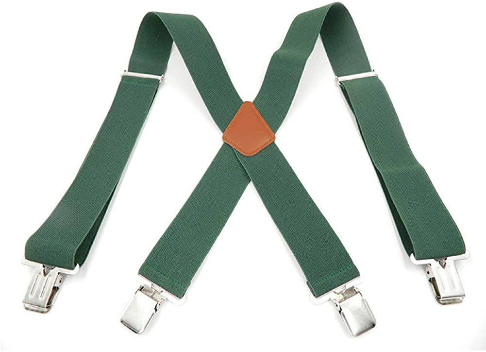 MASKUOY Man's Suspenders Leather Braces Strong 4 Clasps Casual Suspensorio Trousers Strap Gift for Father