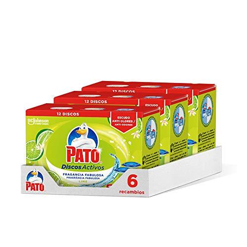 PATO Discos Activos WC, Limpia y Desinfecta, Lima, Packs de 6 Recâmbios