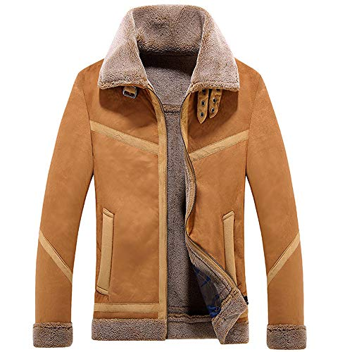 Men's Winter Fashion Faux Leather Jackets Vintage Full Zipper Thick Sherpa Lined Faux Leather Jacket Coat Bomber Jacket (XL, D - Khaki -1)
