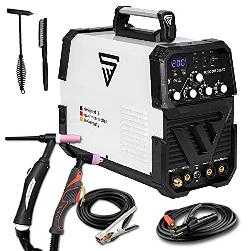 STAHLWERK AC/DC TIG 200 Plasma ST IGBT - Máquina de soldar TIG + MMA Kombi 200 Amp con cortador de plasma de 50 Amp CUT, apto para ALU, 7 años de garantía