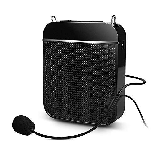 Qchea Amplificatore vocale, Altoparlante per sistema ricaricabile portatile ultraleggero Auricolare cablato, supporta la scheda TF Audio MP3 per gli insegnanti Guide Tour Guides Coach Allenatori Prese