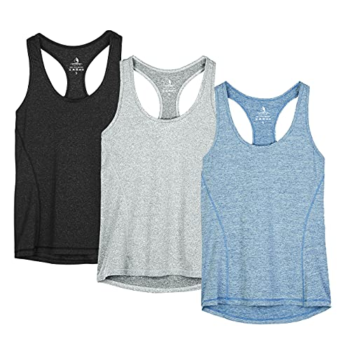 icyzone Workout Tank Tops for Women - Racerback Athletic Yoga Tops, Running Exercise Gym Shirts(Pack of 3)(M, Black/Granite/Blue)