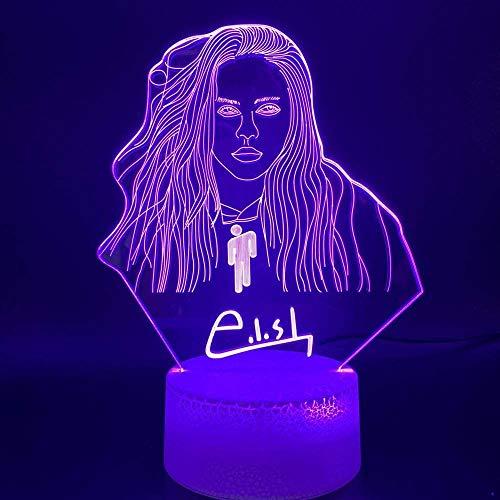 Meet Beauty Ding The Singer Billie Eilish lampa biurkowa iluzja 3D LED lampka nocna Boże Narodzenie prezent urodzinowy dla fanów DJ 7 kolorów (11 #)