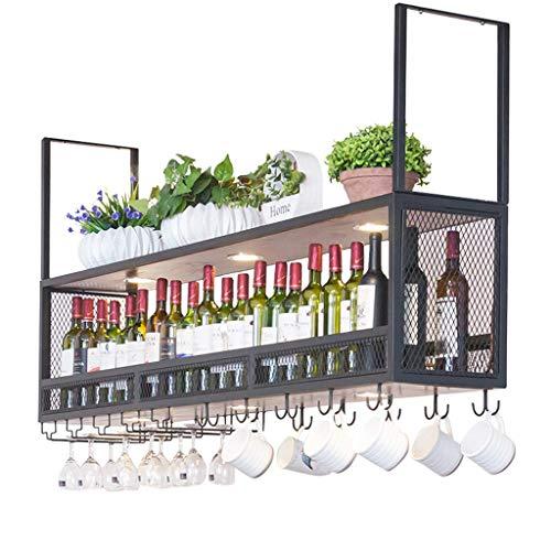YLCJ Estante para Vino suspendido en el Techo de Madera Portabotellas de Metal con focos Sostenedor de Copa de Vino suspendido Decoración de la Cocina del hogar del Titular del Vino (Negro)