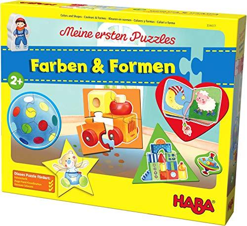 HABA 304477 - Meine ersten Puzzles – Farben & Formen, Kinderpuzzle mit 5 Motiven ab 2 Jahren, mit beidseitig bedruckter Holzfigur zum freien Spielen