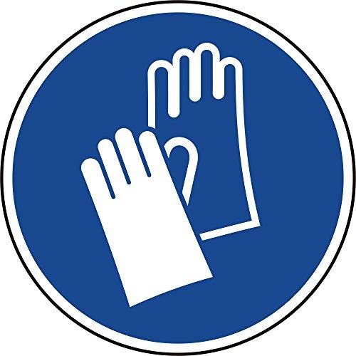Labelident Gebotszeichen Aufkleber Ø 200 mm - Handschutz benutzen M009-10 Gebotsschilder selbstklebend in 1 Packung, Polypropylen Folie blau
