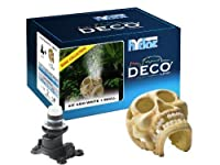 Hydor Deco Bone Collection Aquarium Ornament, Human Skull with Ario 2 Moonlight, White Air Bubbles by Hydor [並行輸入品]
