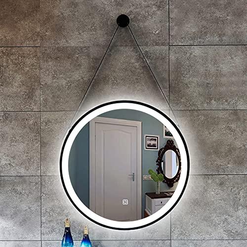 Luz Blanca/luz cálida Negro Sling Redondo Hierro Forjado Lámpara LED Espejo Espejo de baño montado en la Pared Lámpara Inteligente Espejo Espejo de baño 50CM ~ 80CM