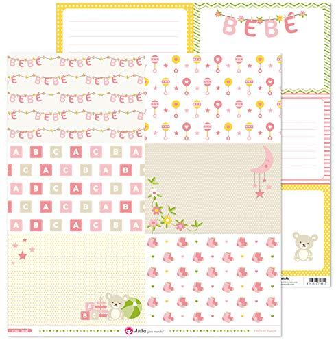Anita y Su Mundo Colección Rosa Bebé Papeles de Scrapbooking, Paper, 30.5 x 30.5 cm