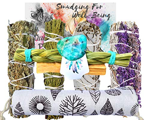 Smudging Kit - SAGE Variety 8 Gifts, Sage Incense Sticks Sampler Smudge Kit: Lavender Blue Sage Stick, White & Black Sage, Cedar, Sweet Grass,Palo Santo, Healing Crystal: Bonus Storage Bag