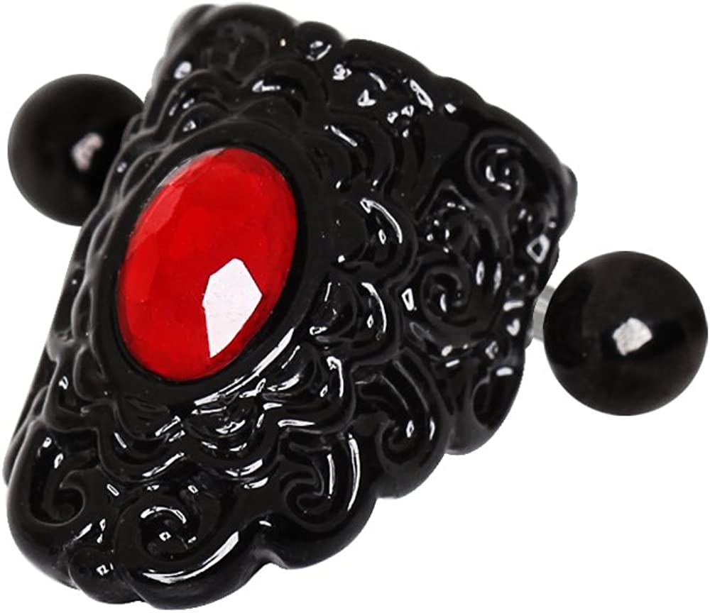 Covet Jewelry Gothic Black & Red Lace Cartilage Ear Cuff Earring