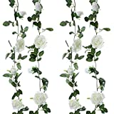 Felice Arts 2 Pcs Fake Rose Vine 13 FT Artificial Garland with Cream Rose Flowers for Bedroom Wedding Arch Table Arrangement Garden Swing Stairs Fence Craft Art Decor