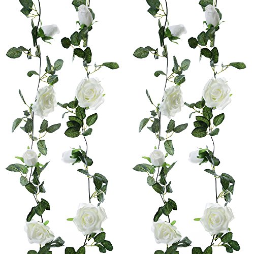 Felice Arts 2pcs 13 FT Fake Flower Vines Plants Artificial Flower Garlands Hanging Rose Ivy for Home Hotel Office Wedding Party Garden Craft Art Room Decor (Cream)