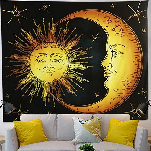 Tapiz de luna y sol ardiente para colgar en la pared de pared psicodélico Popular Retro Indio Celestial Mystic Stars Hippy Bohemio para dormitorio Sala de estar Arte Decoración del hogar(150x130cm)